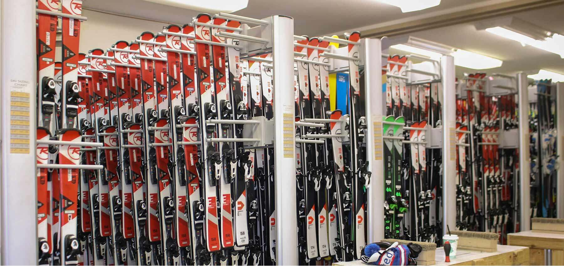 rossignol skis hanging in the rental shop